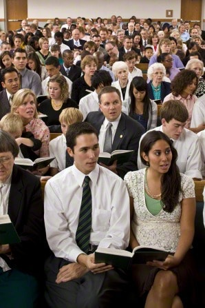 This is an example of typical attire for attending a Mormon funeral.